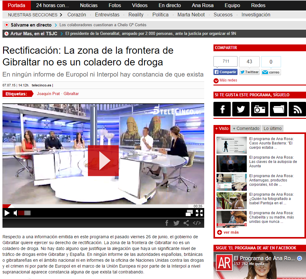 Ana Rosa Quintana; Telecinco Rectification Image